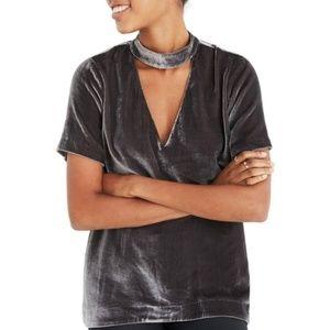 Madewell Choker Collar Velvet Tee Dark Metal Brown